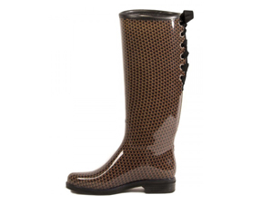 Dav Vegan Lace Up Houndstooth Victoria Rain Boot