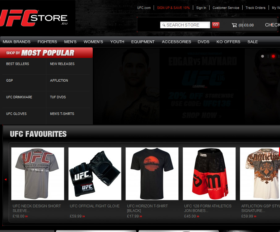 Cheap online clothing stores Ufc clothing store
